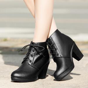 【满200减100】【毅雅】粗高跟时尚系带防水台靴子 8042086