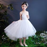 儿童公主裙蓬蓬纱白色钢琴演出服女孩礼服主持人花童婚纱裙