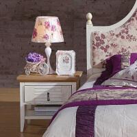 尚满 地中海系列床头储物柜 卧室家具 水曲柳实木框床头柜 A9003B 卧室床边柜
