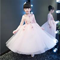 �和��Y服公主裙女花童婚��Y服蓬蓬裙演出服�琴主持走秀�Y服粉色
