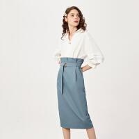 【超值一口价:440】LILY女装复古气质拼接设计假两件高腰过膝连衣裙