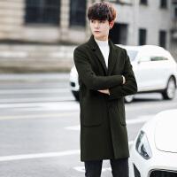 秋冬韩版中长款羊绒呢子大衣韩国2017新款男士帅气修身羊毛外套潮 军绿色 M