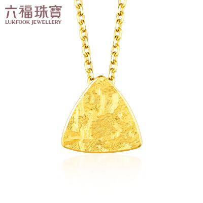 六福珠宝几何三角黄金项链吊坠 个性冰裂套链   L05TBGN0006几何图形简约大方 冰裂工艺 支持使用礼品卡