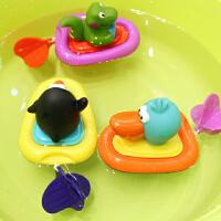 婴儿洗澡发条玩具 戏水拉绳玩具 浴室玩水漂浮游水玩具
