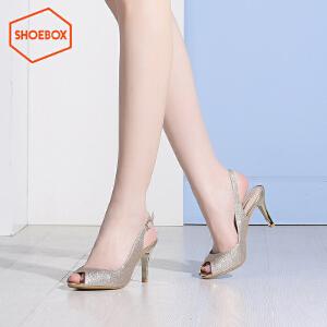 达芙妮旗下shoebox鞋柜性感鱼嘴高跟凉鞋时尚酒杯跟浅口套脚女鞋