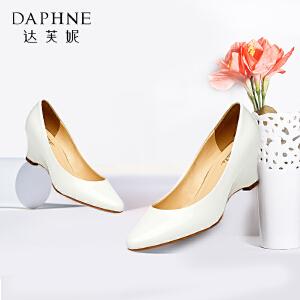 达芙妮/杜拉拉 时尚漆皮坡跟亮面鱼嘴鞋通勤浅口单鞋