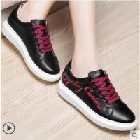 古奇天伦春季新款休闲板鞋单鞋小白鞋女韩版学生百搭厚底增高KO8453