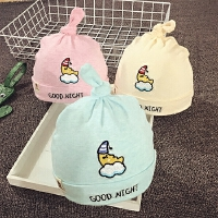 婴儿帽子0-3-6-个月春秋男女宝宝帽子冬套头帽纯棉胎帽护耳保暖