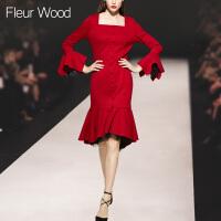 FLEUR WOOD2017秋冬新款女欧美气质显瘦拼色长款毛呢外套大衣