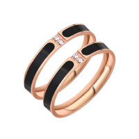 镶钻女戒指男情侣 时尚饰品简约细钛钢镀18k玫瑰金