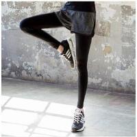 休闲运动裤假两件弹力紧身跑步专业瑜伽长裤女健身裤女 可礼品卡支付