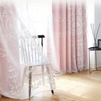 韩式窗帘田园成品婚房客厅飘窗窗帘布纯色遮光小清新窗帘窗纱