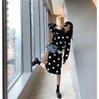 28秋冬新款甜美波点长袖拼接卫衣+高腰显瘦半身裙两件套装女潮 黑色 均码