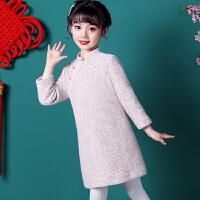 儿童旗袍秋冬季宝宝女童汉服冬装拜年服长袖中国风毛呢唐装