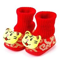 宝宝虎头鞋高筒保暖冬季婴儿配唐装的红色学步周岁鞋