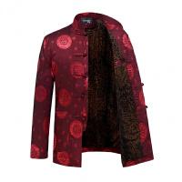 唐装男加绒加厚保暖棉衣中老年人冬季外套中式盘扣爷爷装贺寿礼服