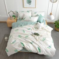 四件套全棉纯棉简约田园风被套单人床单三件套1.5m1.8m米床上用品 1.5m(5英尺)床 床笠款套件