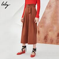 Lily2018春新款女装时尚通勤显瘦七分裤高腰阔腿裤118120C5203