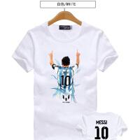 夏季短袖男女圆领印花体恤 巴萨梅西0号T恤 C罗号衣服足球训练t恤
