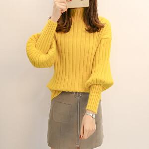 2018新款加厚女毛衣韩版高圆领灯笼袖宽松显瘦打底衫半纯色针织衫