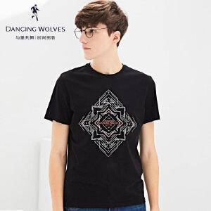 与狼共舞短袖T恤2017夏季新款男装印花圆领个性潮男士体恤衫6588