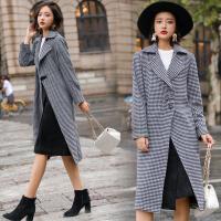 冬季时尚新款英伦风千鸟格显瘦毛呢外套女长款过膝加厚呢子大衣