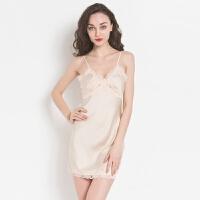 新款睡衣睡裙真丝性感吊带女夏季薄款冰丝韩版修身打底大码家居服