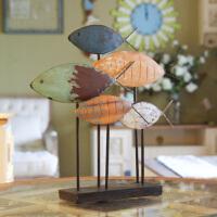 创意装饰摆件复古地中海欧式铁艺家居家装工艺品年年有鱼结婚礼物 如图款