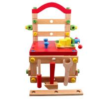 儿童益智力玩具拼装木制积木女男宝宝多功能拆装工具椅螺母丝组装