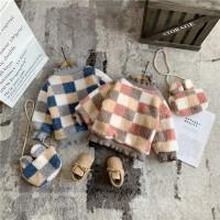 女童格子卫衣童装秋冬保暖宝宝半高领上衣儿童洋气套头衫