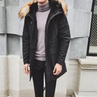 男士冬装长款连帽韩版修身青少年防寒加绒潮外套棉袄上衣 黑色