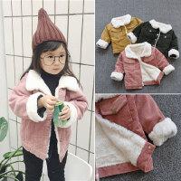 秋冬装男女童灯芯绒外套加厚加绒条绒韩版小童女孩宝宝保暖上衣潮