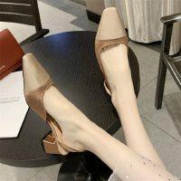 女士凉鞋尖头浅口中跟户外时尚粗跟仙女风百搭配裙子的鞋