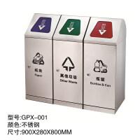 四菱角不锈钢环保室内干湿垃圾分类垃圾桶学校户外酒店商场垃圾箱