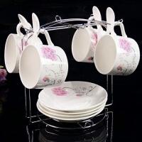 套装带盖奶茶简约咖啡杯家用碟带勺欧式酒店专用随手陶瓷杯子白色