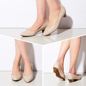 达芙妮/杜拉拉新款女鞋 低马蹄跟圆头羊皮通勤单鞋1715101903