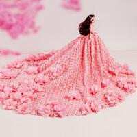 娃娃粉红玫瑰花朵大裙摆奢华公主女孩节生日礼物