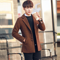 秋冬季男士西装修身加绒风衣青年休闲呢子西服中长款加厚毛呢外套