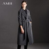 Amii理性条纹 100%羊毛双面呢外套女 2017冬新西装翻领腰带长大衣