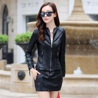 新款女装外套圆领纯色长袖皮衣18修身韩版春季短款百搭夹克上衣