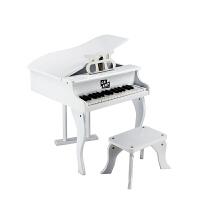 儿童钢琴玩具30键木质钢琴翻盖可弹奏钢琴乐器早教钢琴迷你 白色 翻盖款