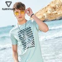 马克华菲短袖t恤男2018夏季新款半袖韩版印花圆领体恤衫打底上衣