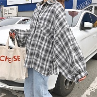�n�^秋季�n版BF�L��松大�a�L袖格子�r衫女�W生蝙蝠袖�r衣薄外套上衣潮 2XL 建�h125-135斤