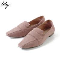 Lily2019春新款女装粉红一脚蹬单鞋休闲平底鞋乐福鞋119110JZ446