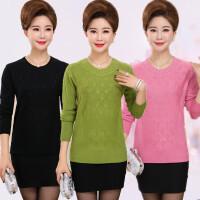 中年人穿的妇女装妈妈毛衣秋冬季短款中老年羊毛衫套头40-50多岁