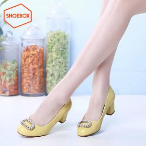 SHOEBOX/鞋柜春季新潮款粗跟浅口女鞋 休闲中跟单鞋