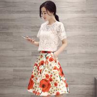 韩版2016年夏季蕾丝上衣吊带背心+优质花朵短裙三件套 上白下红