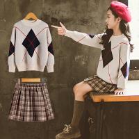 女童套装毛衣秋冬季装中大童装时髦两件套