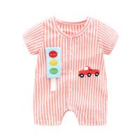 婴儿夏装宝宝短袖连体衣小汽车条纹男0新生儿哈衣1岁满月纯棉衣服
