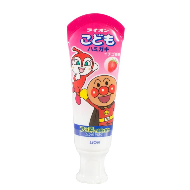 日本 LION狮王可吞咽 面包超人 儿童牙膏防蛀健齿 草莓味40g